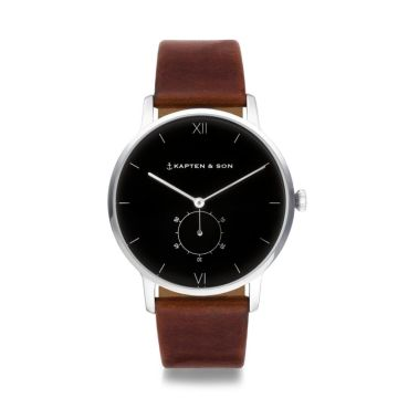 Heritage Silver Black Brown Leather