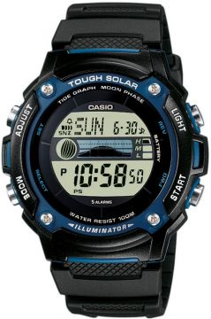 Casio Collection Multifunktion Solar Ebbe-Flut-Indikator Mondphase 44 mm W-S210H-1AVEF