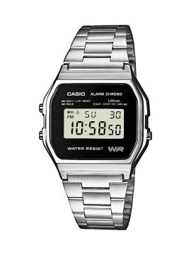 Casio Collection Herrenuhr, Resin, Edelstahlarmband, Zifferblatt schwarz, digital, 36,8 mm, A158WEA-1EF